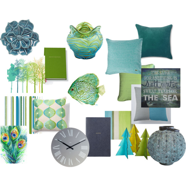 Gray And Teal Living Room By Jurzychic On Polyvore: Green, Teal, Turquoise, And Gray – Polyvore