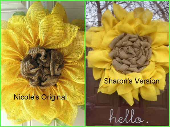 NicoleDCreations original sunflower wreath and Sharon's DIY version.